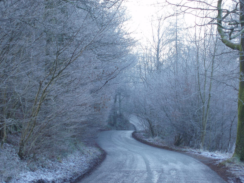 a narrow rural road on a frosty winter day