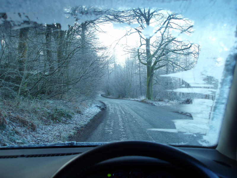 driving a car on icy winter roads