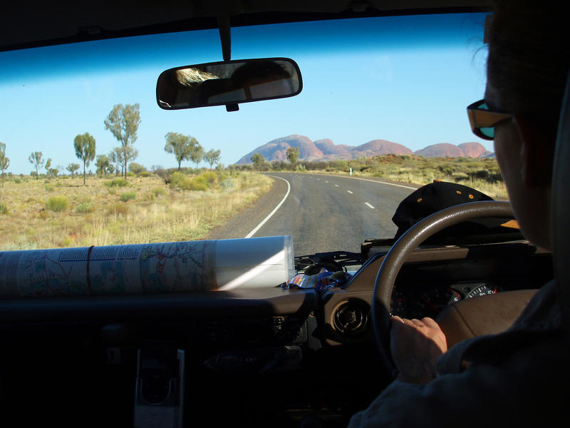 driving towards kata tjuta (the olgas) in australias red centre