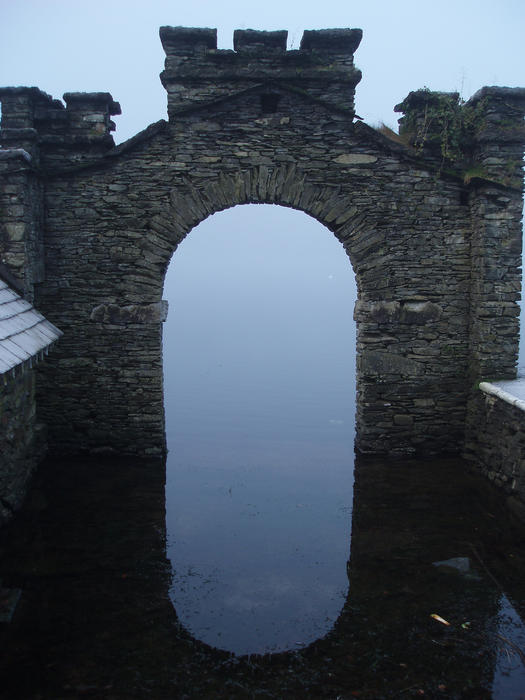 remains of an old boathouse at fell foot park, windermere, cumbria, UK