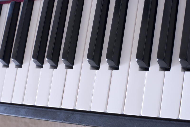 rows of keys on a piano keyboard