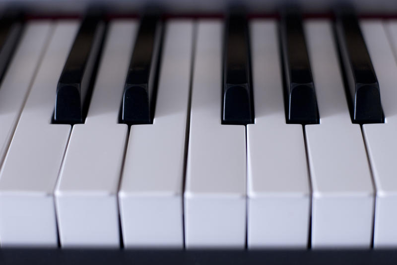 close up on 8 piano keys with sharps and flats in the background