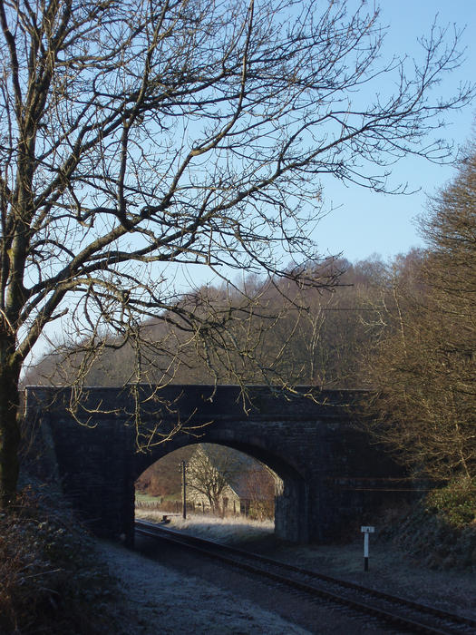 a small railway bridge on the haverthwaite steam railway, cumbria, england