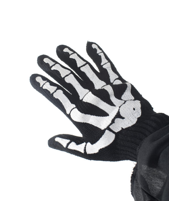 hand in a glove with a skeleton bone print on it