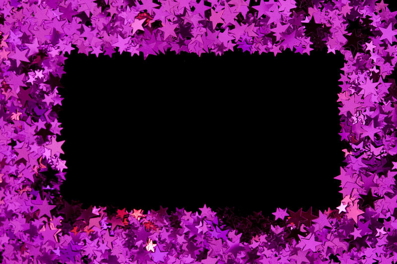 a frame or border of pink metallic stars with easy to select black centre