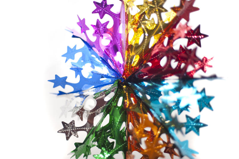 a colorful retro fold up christmas hanging star decoration
