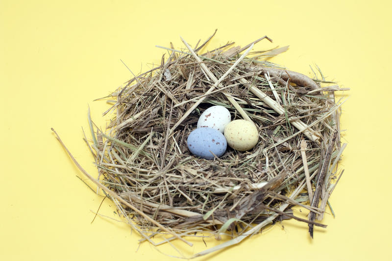 Three small coloured candy Easter Eggs in a fresh straw nest on a yellow background
