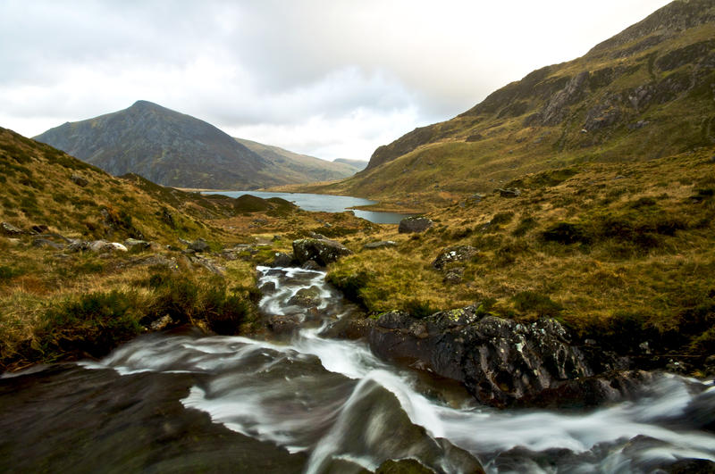 Winters day, walking towards Llyn Idwal in the Snowdonia National Park, North Wales