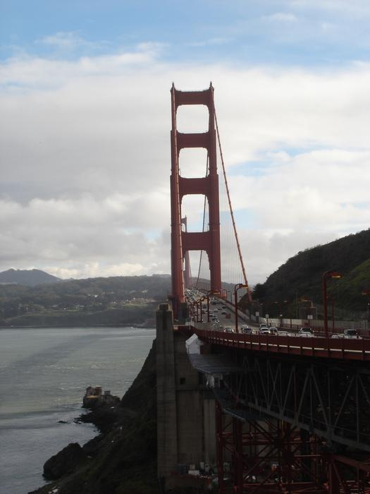 a view looking along san franciscos golden gate brisge