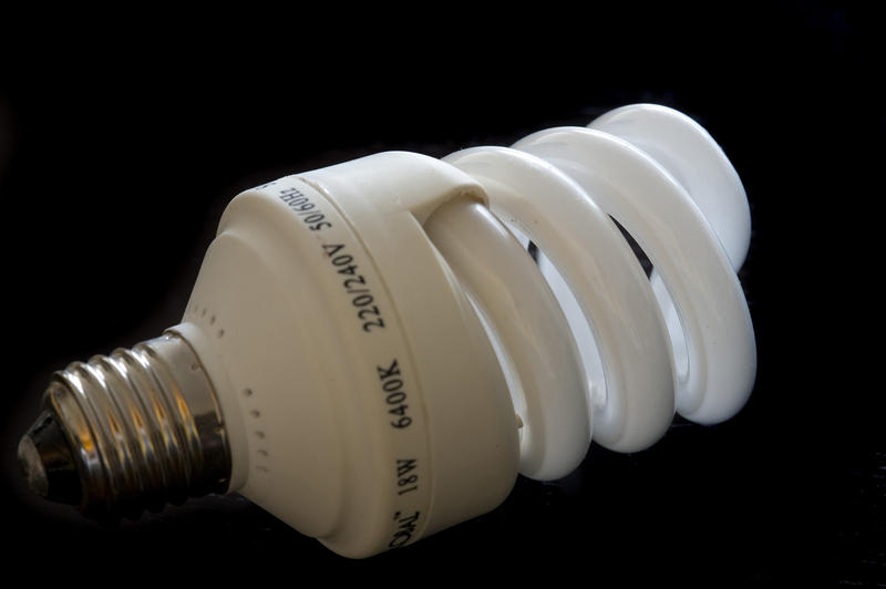 a flourescent spiral shaped energy efficeint light bulb