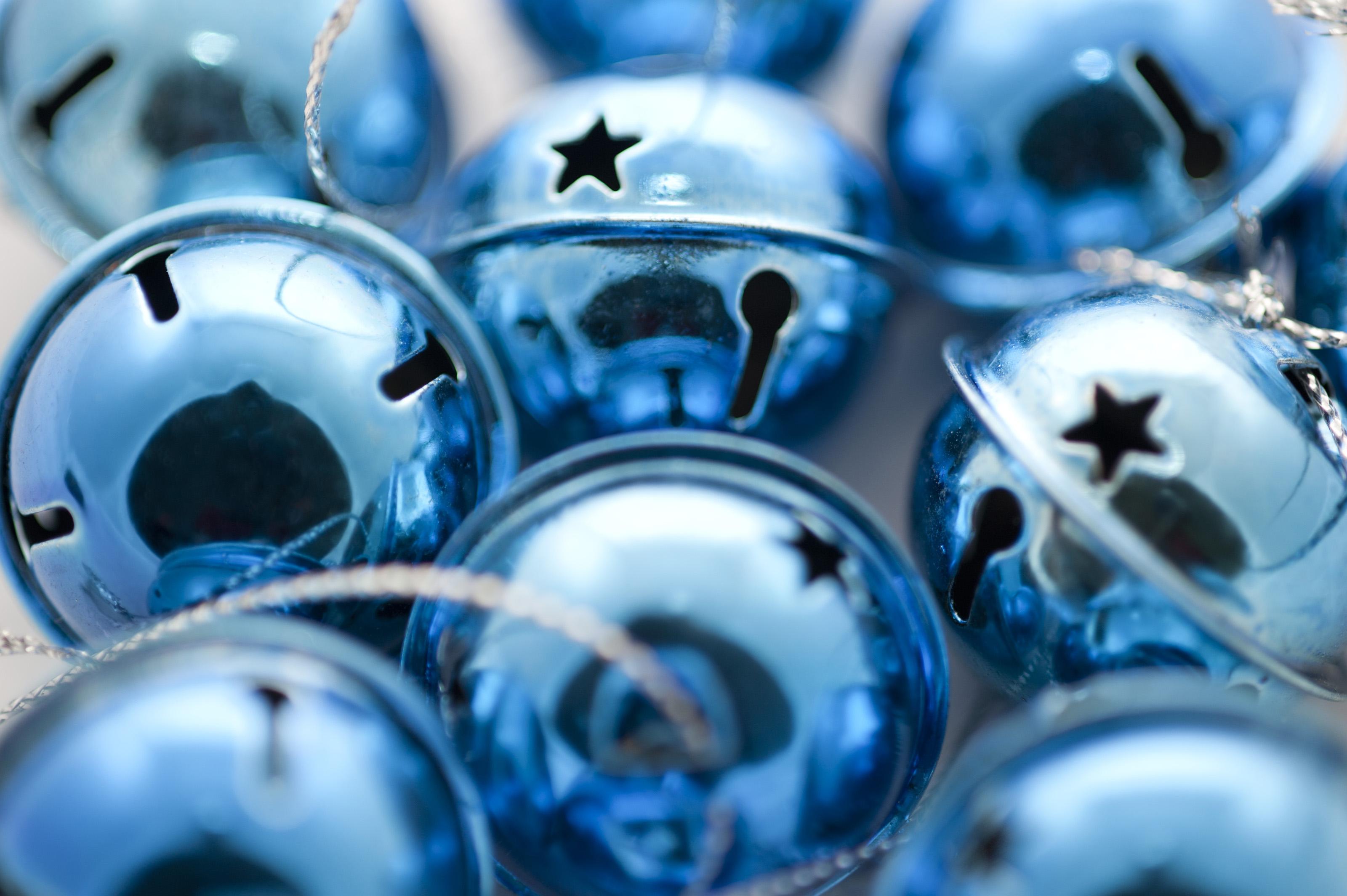 Free stock photo shiny blue jingle bells freeimageslive