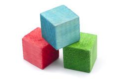6947   Three colourful wooden blocks