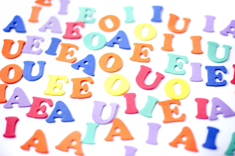Colourful collection of vowels for teaching preschoolers their alphabet and to spell, read and write