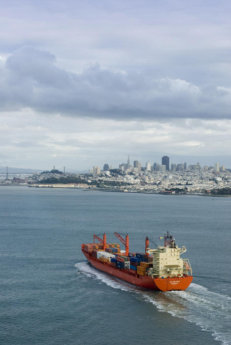 Loaded cargo ship transporting products into san francisco bay