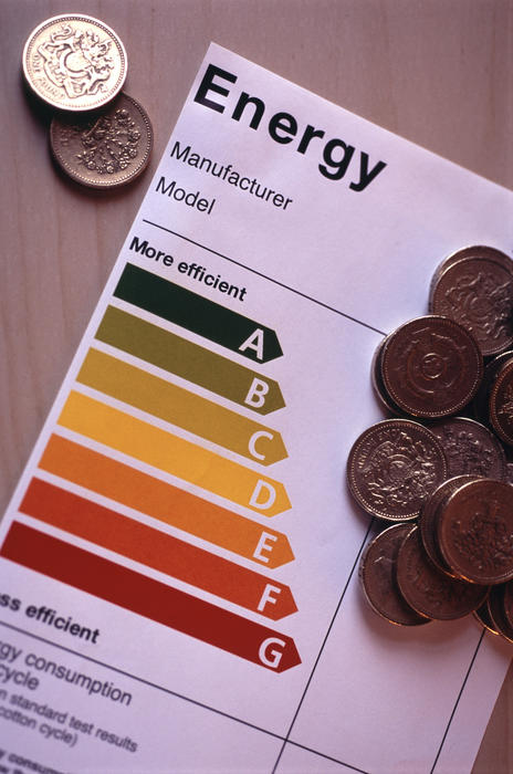 an appliance energy efficiency rating label with a stack of english money