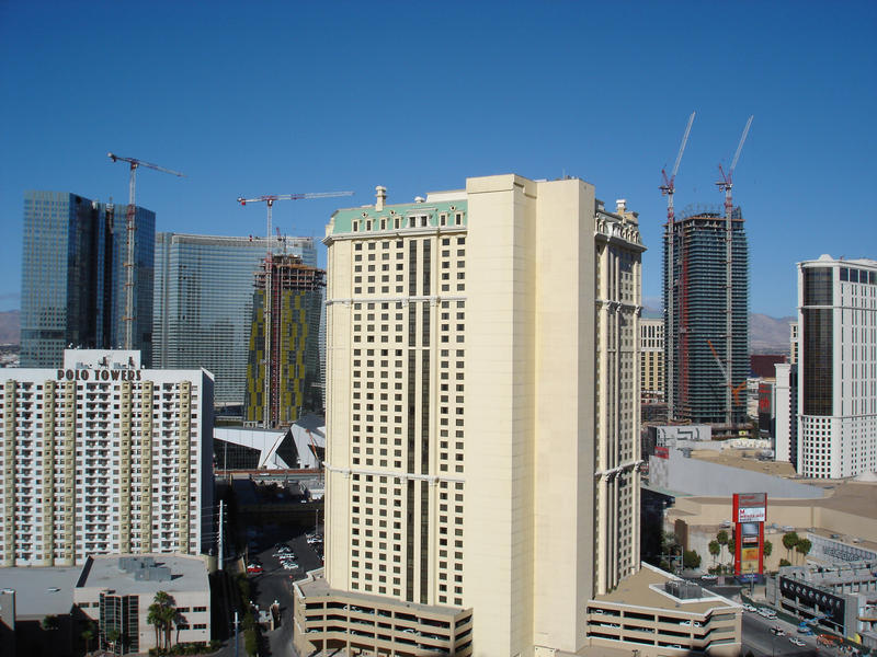 las vegas skyline dotted with hotels and buildings under construction