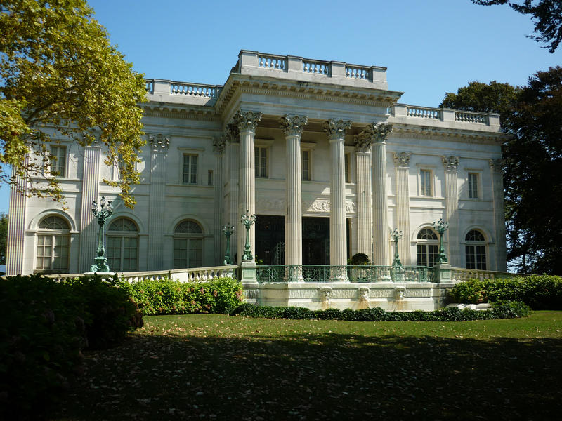 The front entrance and ramp at Marble House, Newport, one of the gilded age mansions now classed as a monument
