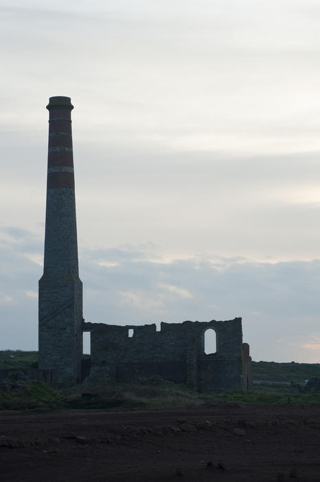 Levant mine ruins in Trewellard, Pendeen silhouetted against the sky - home to the only Cornish working beam engine and a protected site run by the National Trust