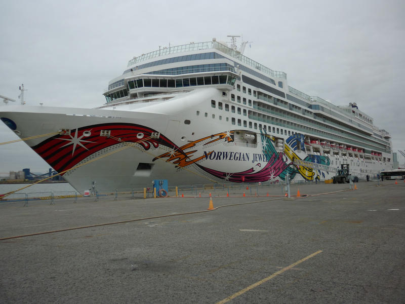 The luxury cruise ship Norwegian Jewel in dock - Editorial use only