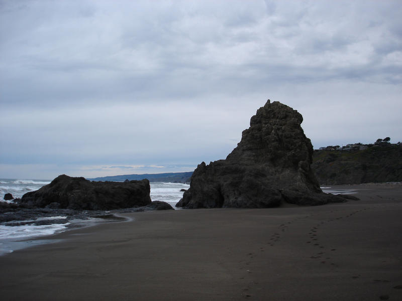 a bleak grey view of a northern california beach