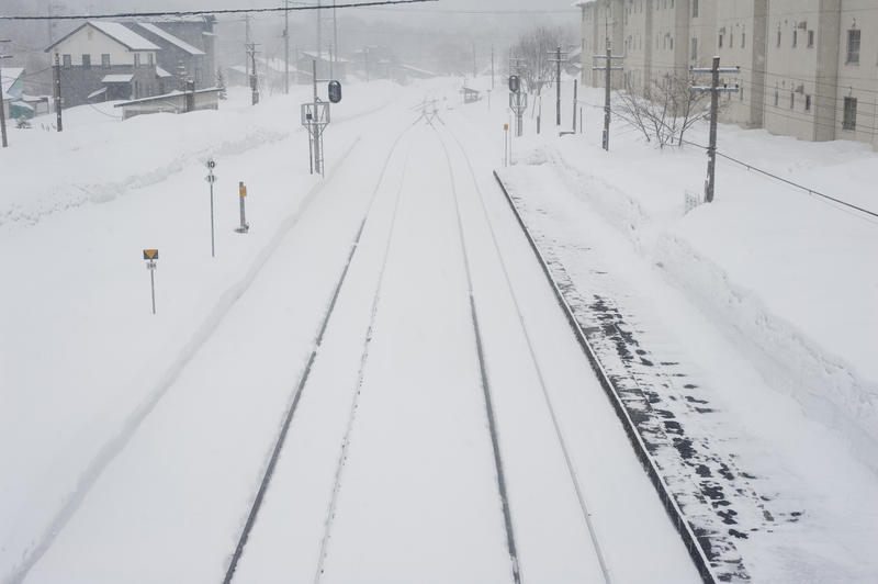 snow covered railway lines in winter Hokkaido, Japan