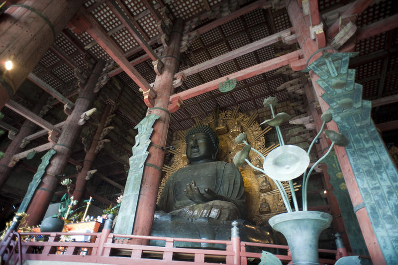The Virocana Buddha inside the Todaiji temple at Nara, japan