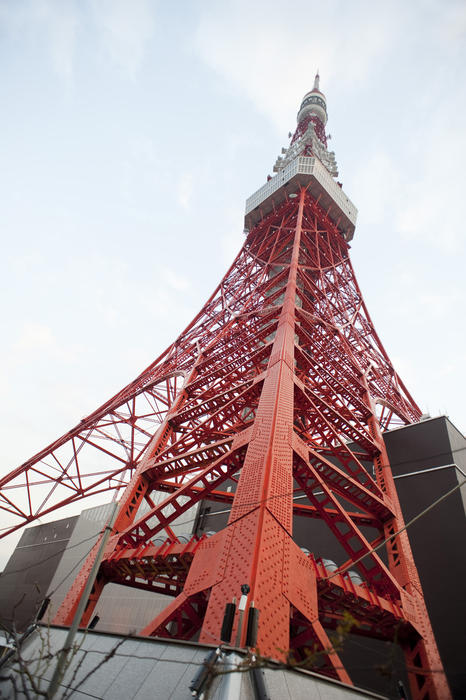 looking up from the base of the tokyo tv tower, the tower is 13 meteres taller than the eiffel tower.
