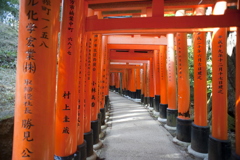 thousands of red painted torii line the walkways up funari hill, near the Fushimi Inari-taisha a shrine in kyoto, Japan