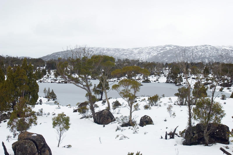 one of make lakes collectively known as solomons jewels in walls of jerusalem national park, frozen over in winter