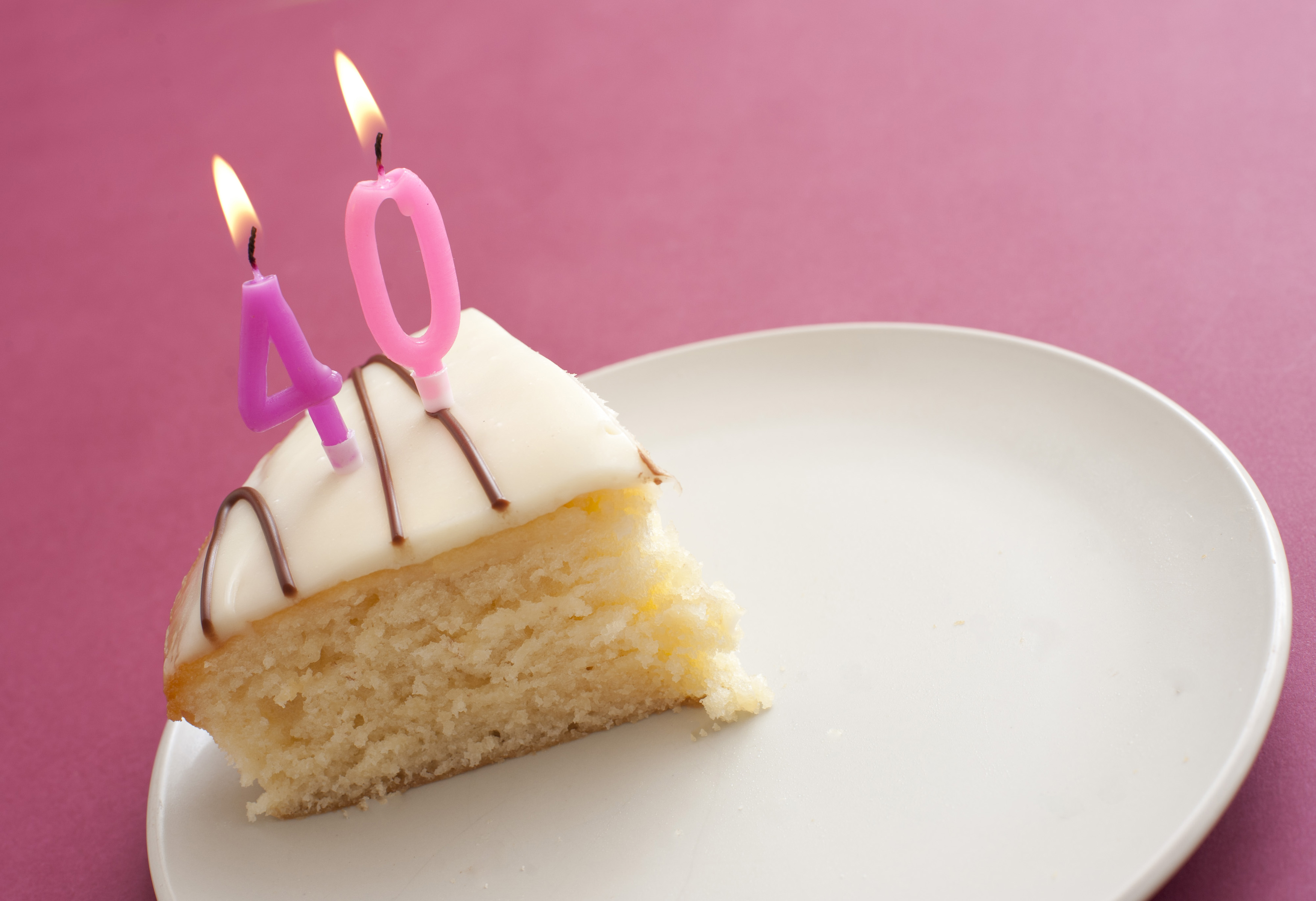 Free Stock Photo 11411 Slice Of 40th Birthday Cake With Candles