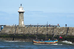 8036   Whitby Pier and Bark Endeavour replica