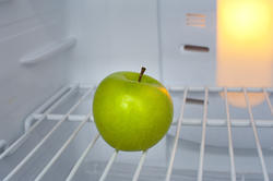 8220   Green apple in an empty fridge