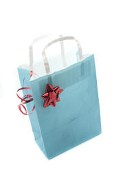 8633   Blue gift paper bag decorated with a red shiny bow