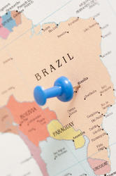 9604   Thumb tack pin in a map of Brazil