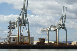 10788   Large industrial cranes at a cargo wharf
