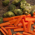 10505   Chopped vegetables on a kitchen counter