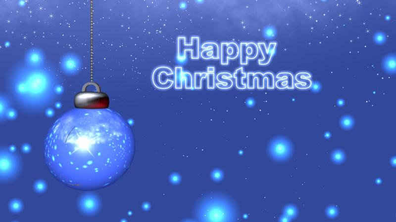 <p>Happy Christmas festive design with text and bauble render.</p>
