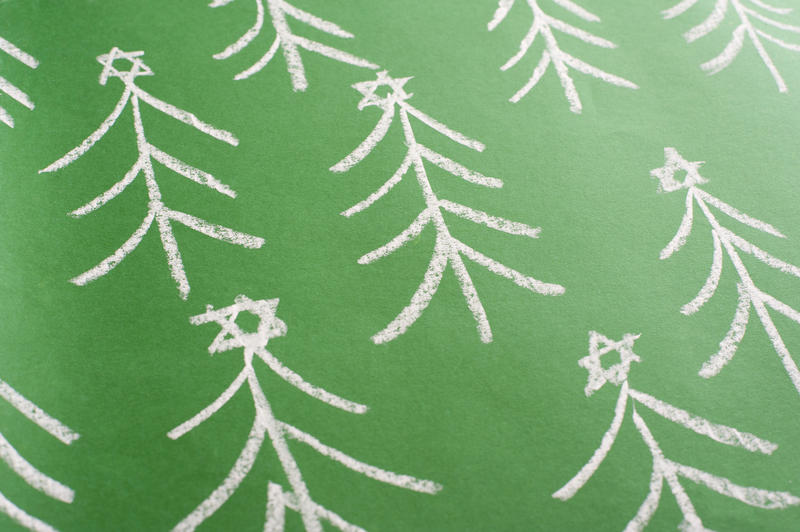 11564   Hand Drawn Christmas Trees in Chalk on Green
