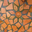 10914   Irregular Terracotta Tiles with Flower Design