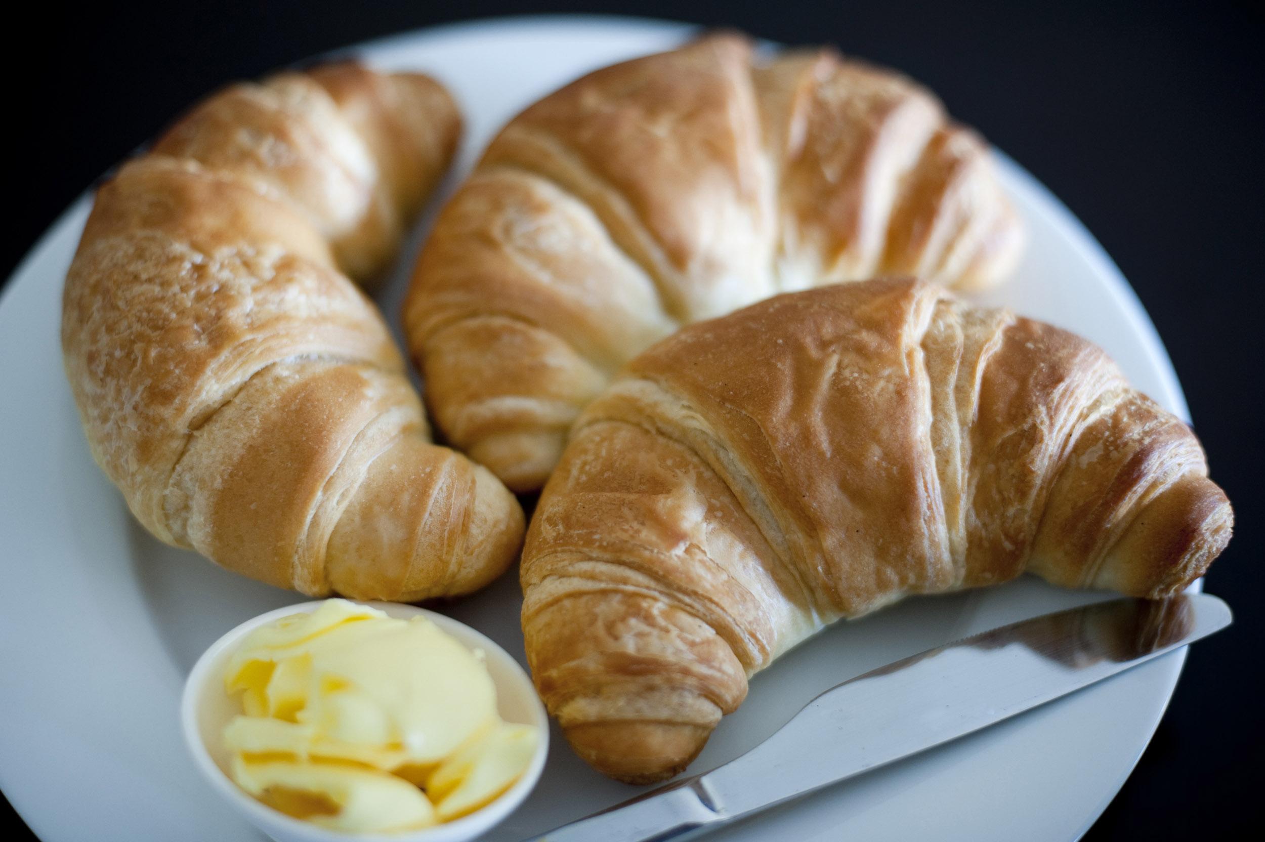 Free Stock Photo 8457 Three golden flaky croissants   freeimageslive