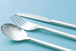 10597   Glossy Silver Cutlery on a Cyan Background