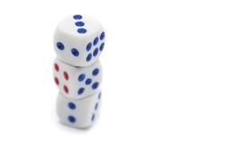 10974   Three stacked casino dice
