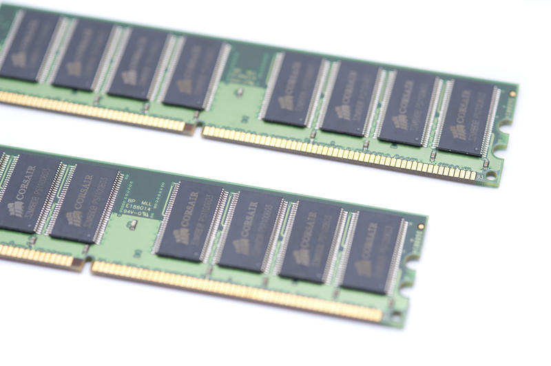 Close up Two Random Access Memory Modules or DIMM Isolated on a White Background