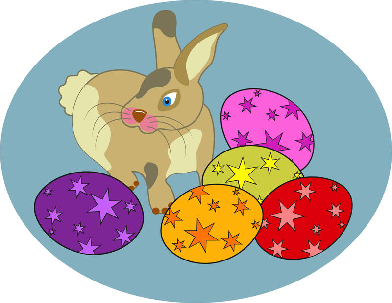 <p>Easter bunny and eggs clip art illustration.</p>