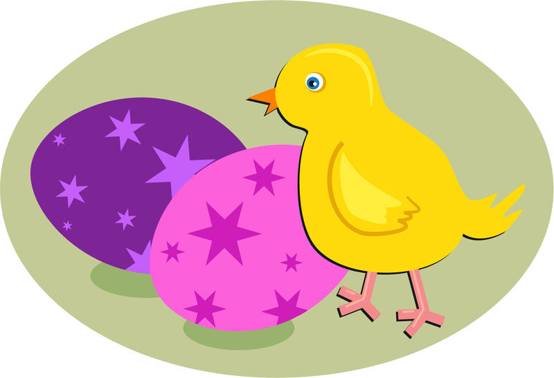 <p>Easter chick and eggs clip art illustration.</p>