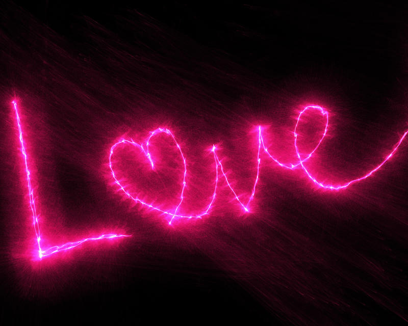 <p>Pink glowing love text clip art illustration.</p>