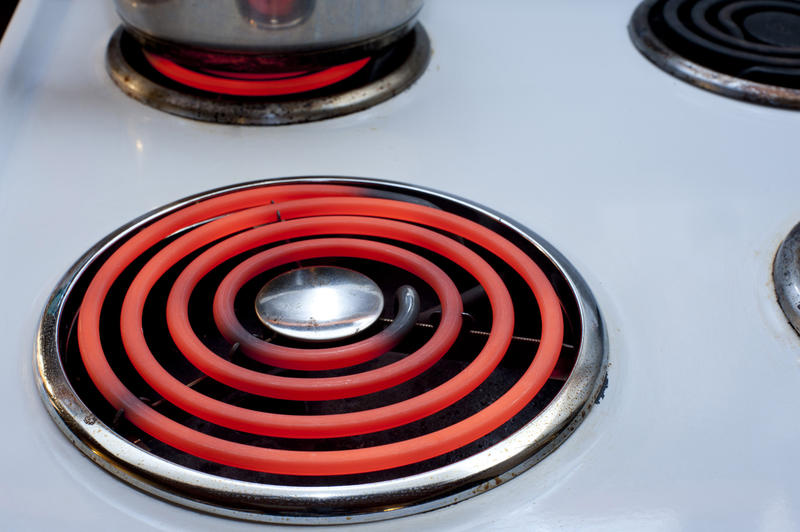 Glowing red hot hotplate on top of a domestic stove or electric hob ready for cooking the meal