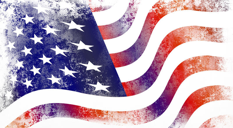 <p>Stars and stripes flag of America with grunge.</p>