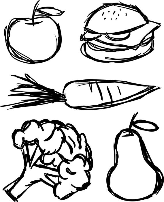 <p>Sketched food items including a apple, burger, carrot, pear and broccoli sprig.</p>