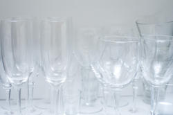 8213   Assorted glasses on a kitchen shelf